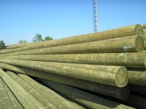 Опоры деревянные ВЛ пропитанные 9,5 м ГОСТ
